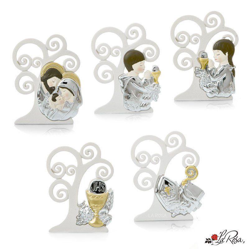 Bomboniera Icona Con Albero Della Vita Stilizzato In Resina Tipo Ceramica Decorata A Mano Con Argento E Bomboniere Bomboniere Di Comunione Albero Della Vita