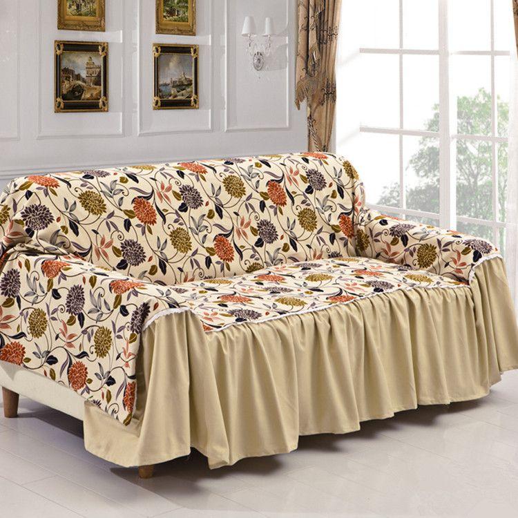 Thick Non Slip Cotton Canvas Fabric Sofa Cover 190 300cm Covers Three Past Slipcover