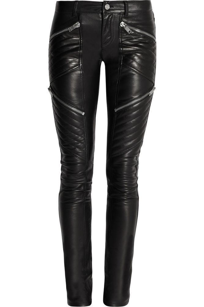 81b27e84223a4f New Black Leather Pants Skinny Fit Quilted Low Rise One button Lambskin  Women  Creer  Leather
