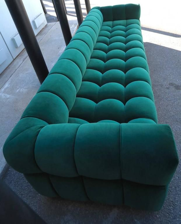 Custom Tufted Green Velvet Sofa with Brass Base by