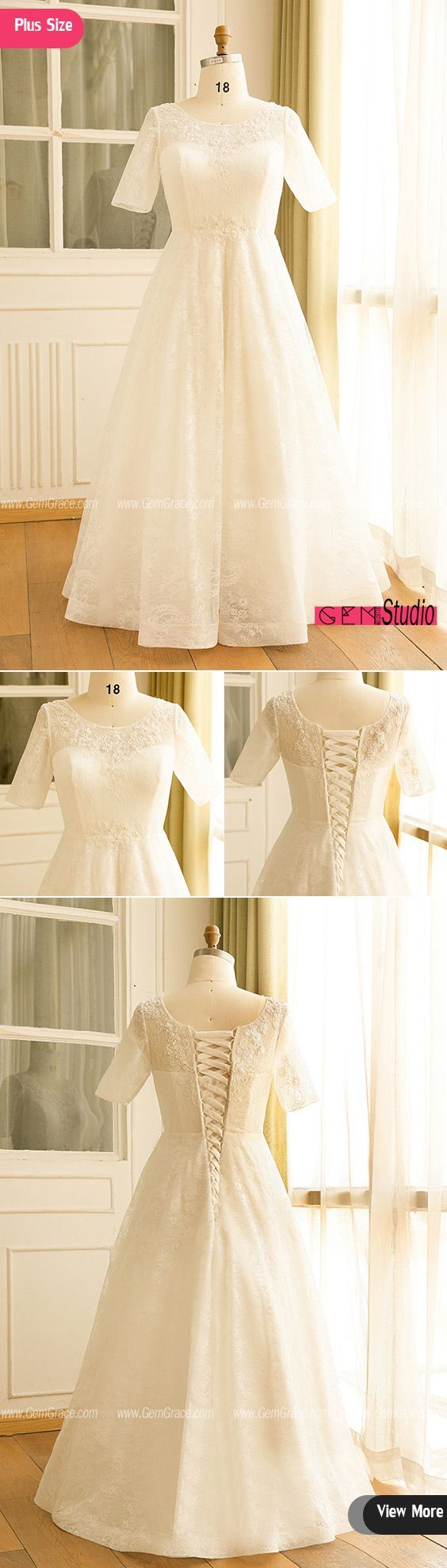 Modest plus size ivory lace mature women wedding dress with short