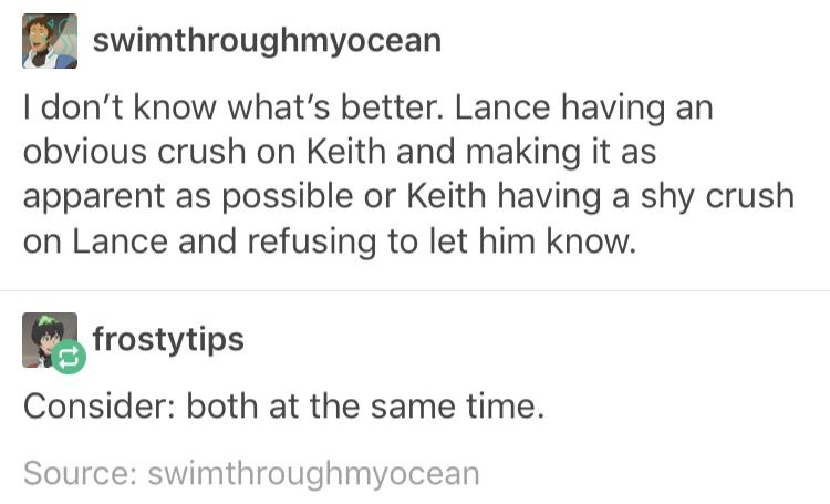 Klance also the Keith one is canon tbh   ....voltron ...