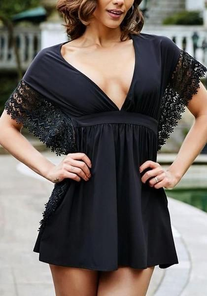 57a0f7fa8926 Black Patchwork Hollow-out Lace Plunging Neckline Mini Dress ...