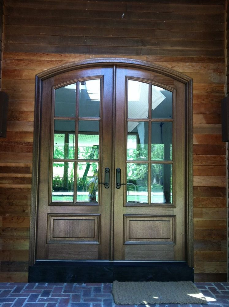 Pella Mahogany Solid Wood Eyebrow Top Double Entry Door