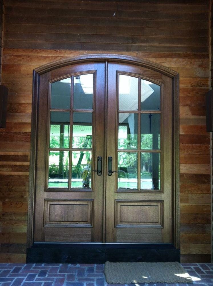 Pella Mahogany Solid Wood Eyebrow Top Double Entry Door