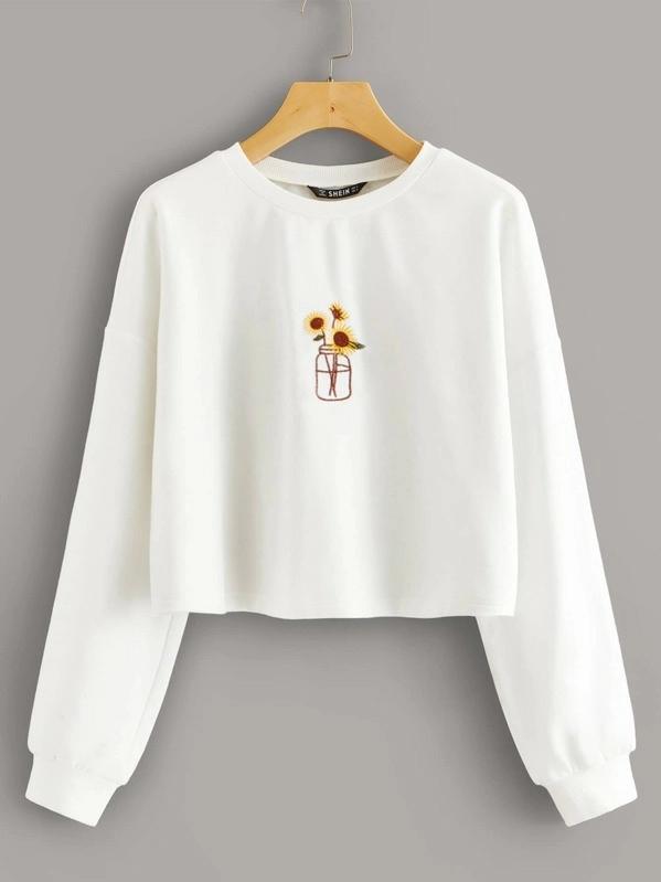 Drop Shoulder Embroidered Sweatshirt Shein Usa Embroidered Clothes Clothes Embroidery Diy Embroidered Sweatshirts