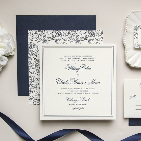 Oversized Square Floral Navy Letterpress Wedding Invitation ...