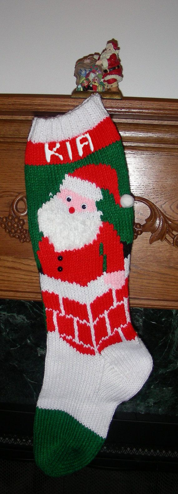 Knitted Christmas Stocking Pattern Quot Santa S Here
