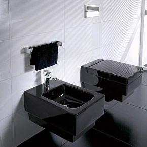 Wall Mounted Toilet And Bidet In A Sleek Matte Black Memento