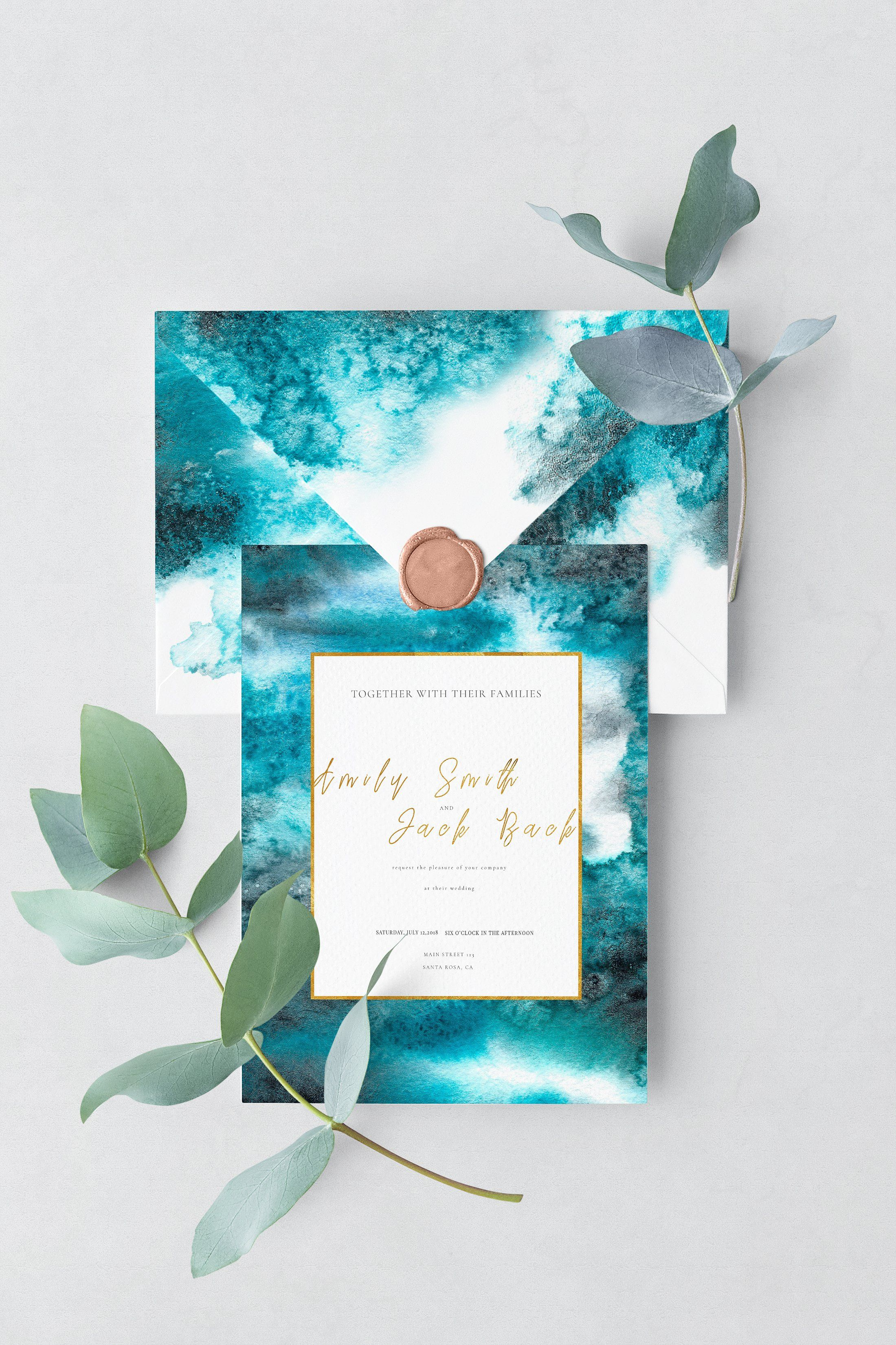 watercolor winter frost texture by on wedding stationery card turquoise