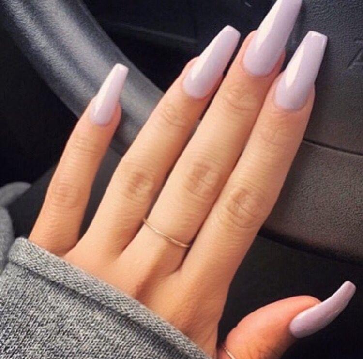 Purple Acrylic Nails Pastel Coffin Long Color Shape