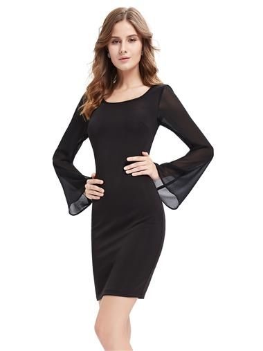 96191e56dc16 Alisa Pan Womens Fitted Little Black Dress with Bell Sleeves - Ever-Pretty  US