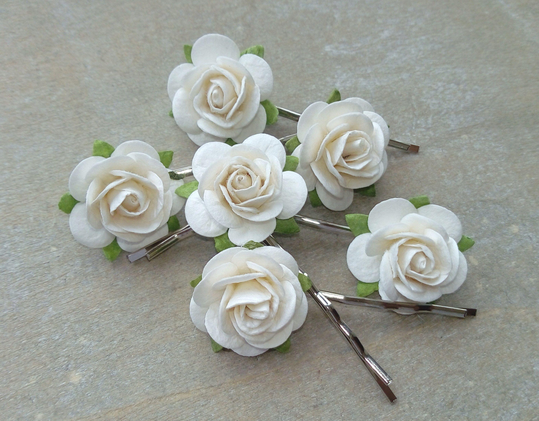 cream white rose hair pins, rose bobby pins, flower clips