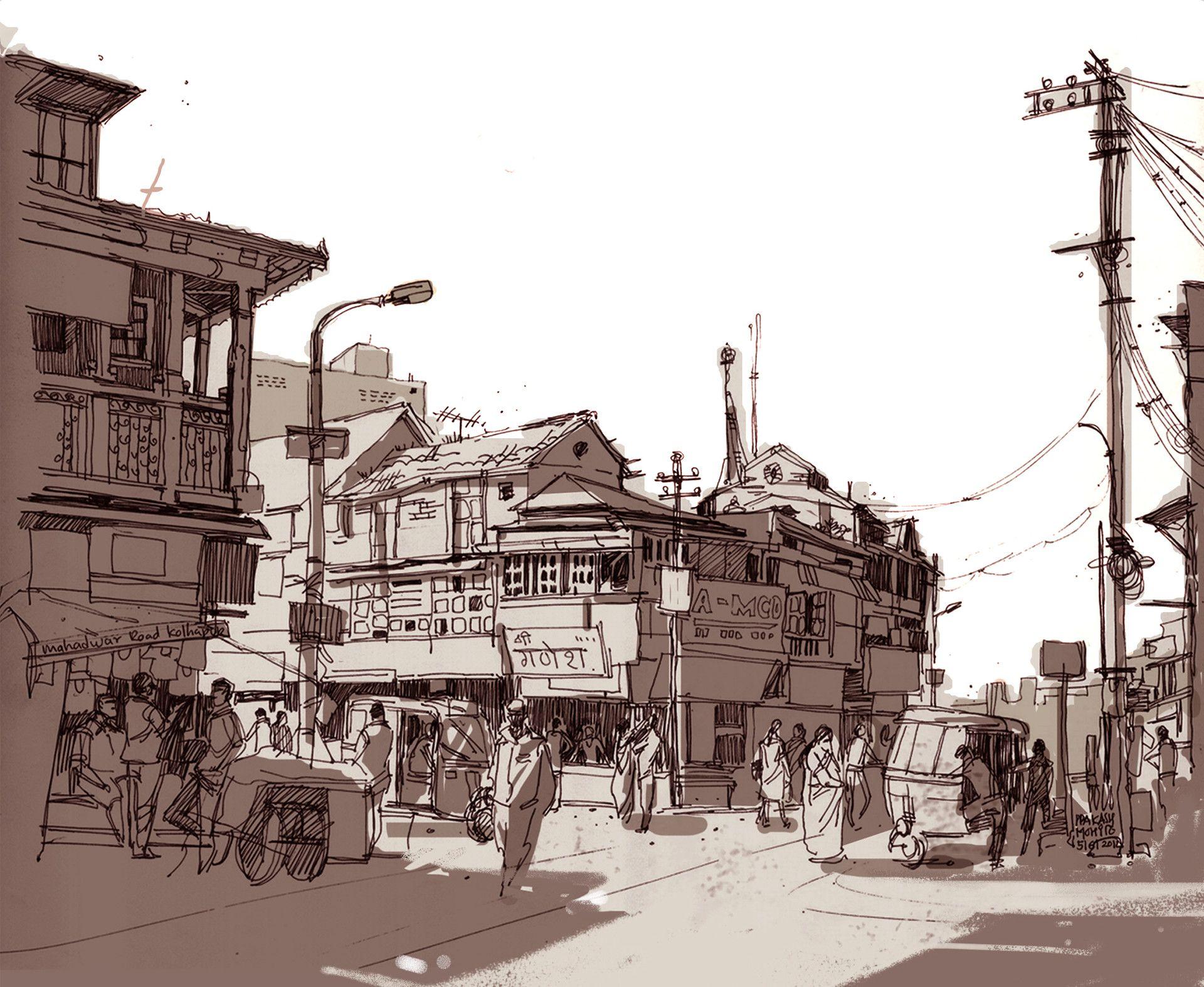 Love this street scene sketch by Prakash Mohite https://www ...