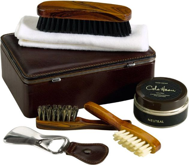 COLE HAAN SHOE CARE KIT Famous shoemaker Cole Haan offers a complete kit to  preserve or
