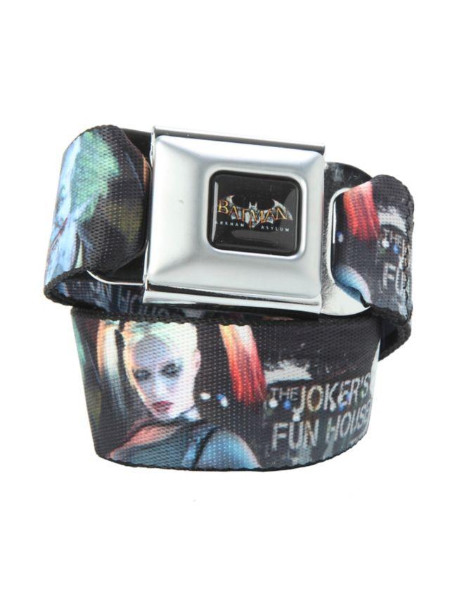 The Joker & Harley Quinn design belt with an authentic seat belt closure.