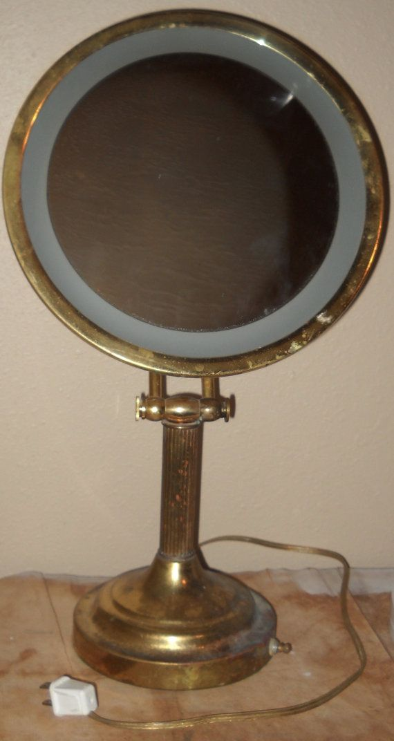 Brass Lighted Vanity Mirror The Nova Vintage Makeup Mirror