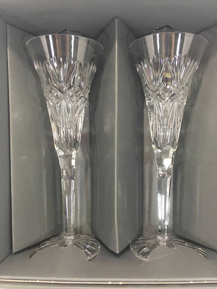 Waterford Crystal Toasting Champagne Flutes Set Of 2 Wedding Gles Box Signed