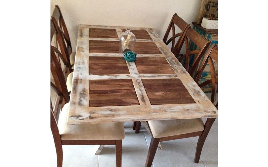 Rustic Farmhouse Slatted Dining Table by Altered Empire Pinned by