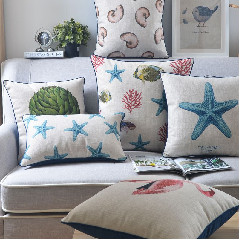 Vintage Mediterranean Marine Cushion Cover Starfish Conch