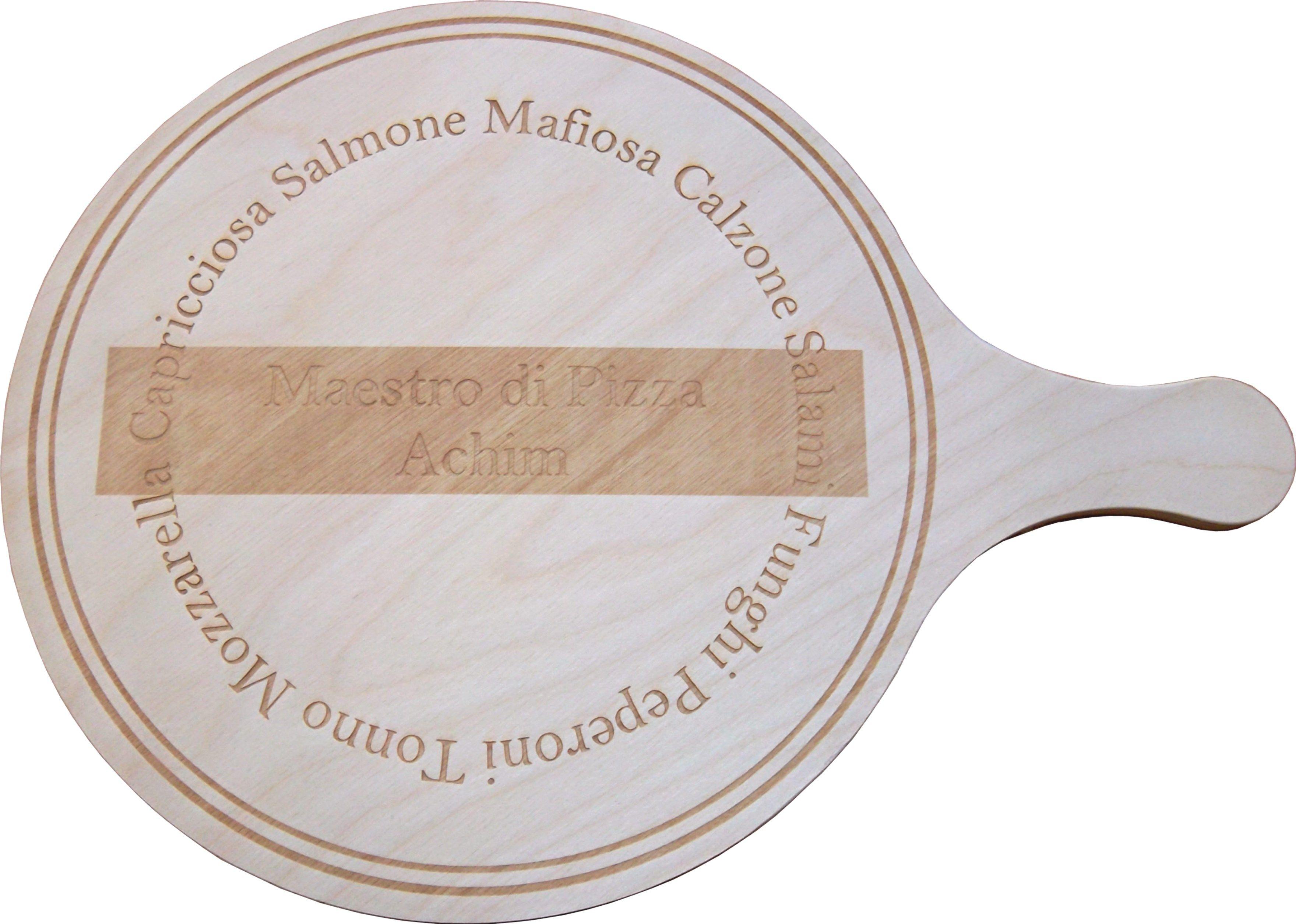 delightful kuhle startseite dekoration modern designe gartenmobel amazon 3 #8: kleines, rundes Pizzabrett mit Lasergravur nach Kundenwunsch gefertigt