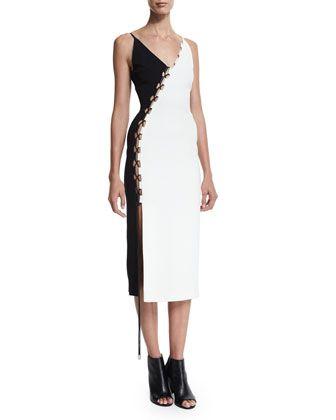 Sleeveless Bicolor Crepe Lace-Up Dress, Black/White by David Koma at Bergdorf Goodman.