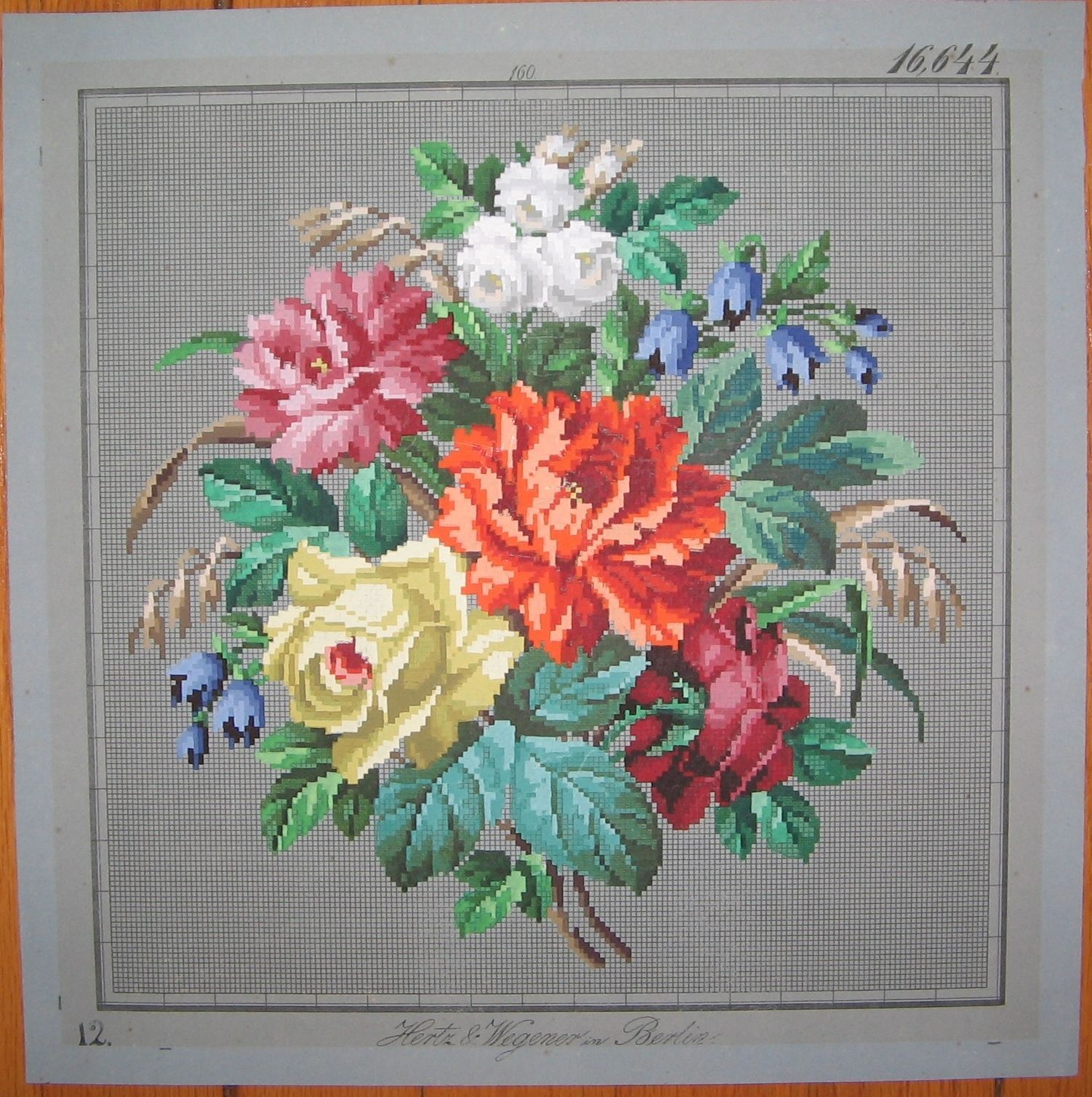 Antique Berlin Woolwork 19th-Century Hand-Painted Chart Hertz ...
