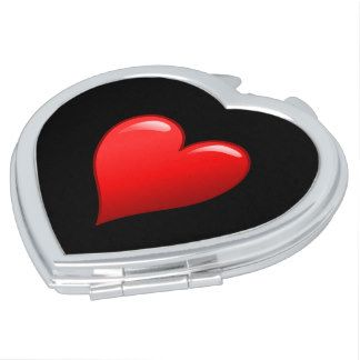Black with Red Heart Compact Makeup Mirror