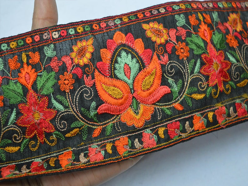 Orange Sari Embellishment Indian Embroidery Trim By The Yard Embroidered Saree Ribbon Cushions Home D\u00e9cor Sewing Crafting Trimmings Border