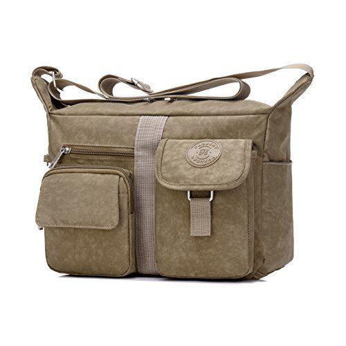 Fabuxry Women s Shoulder Bags Casual Handbag Travel Bag Messenger Cross  Body Nylon Bags (Khaki) 922fd376e5514