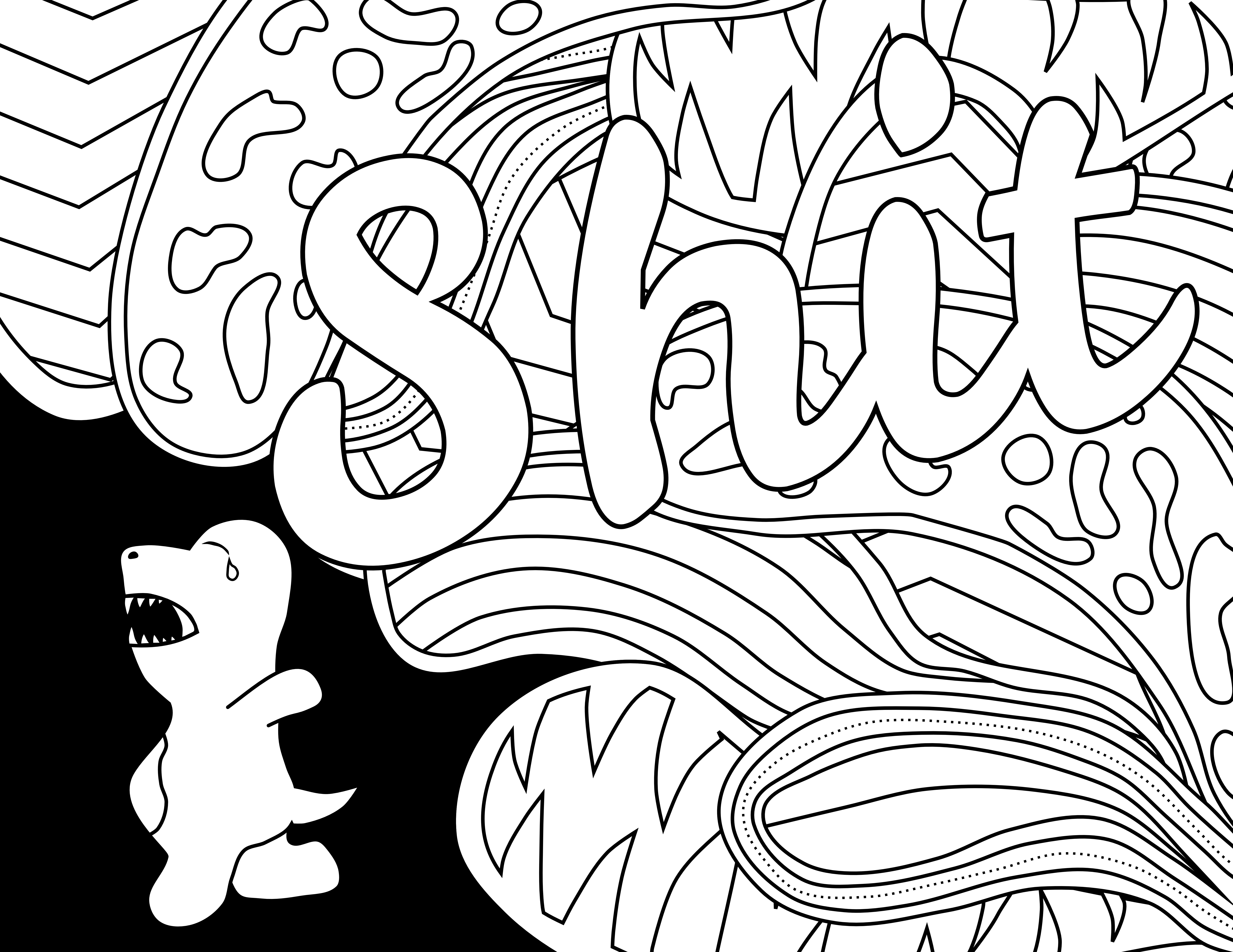 Sw swear word coloring pages etsy - Shit Adult Coloring Page Color Swear Blackout Free Coloring Pages Comes