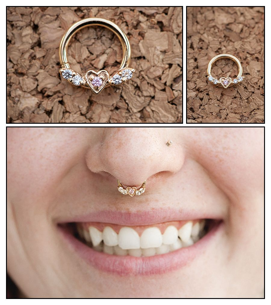 solid gold flying heart septum ring this would be the only ring Id