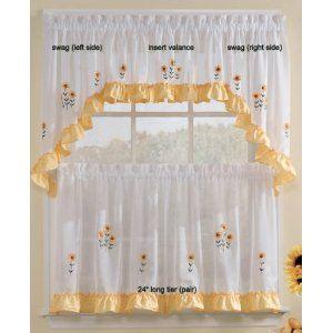 Sunnyside Sunflowers - Insert Valance SHEER Kitchen Curtain ...