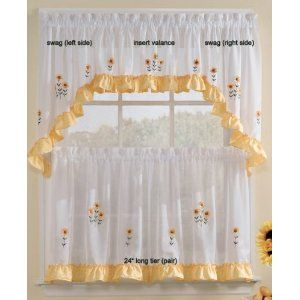 Sunnyside Sunflowers Insert Valance Sheer Kitchen Curtain Kitchen Curtains And Valances Kitchen Curtains Curtains