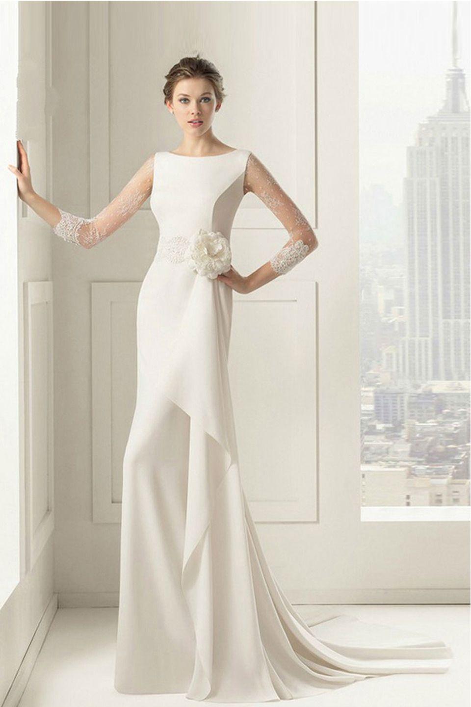 Vlan sleeveless draped hem wedding dress in white