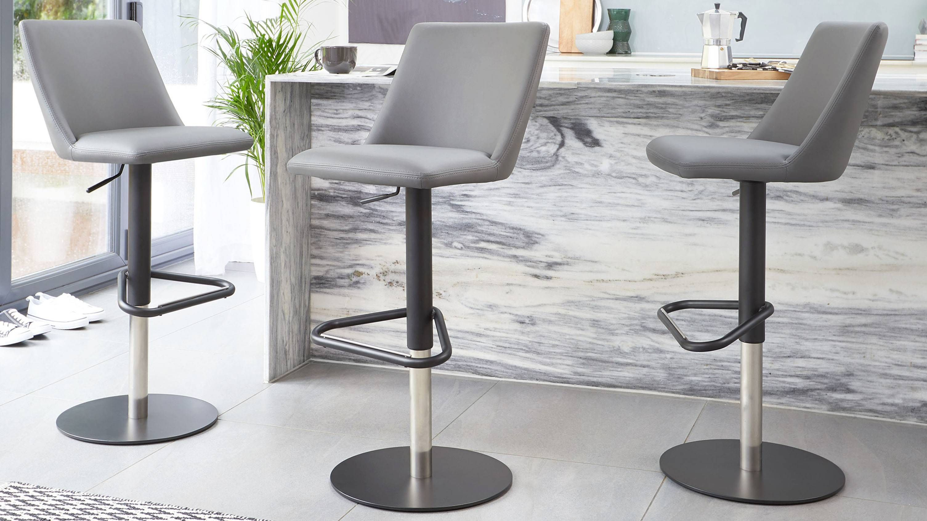 Dante Matt Black Gas Lift Bar Stool Contemporary Bar Stools