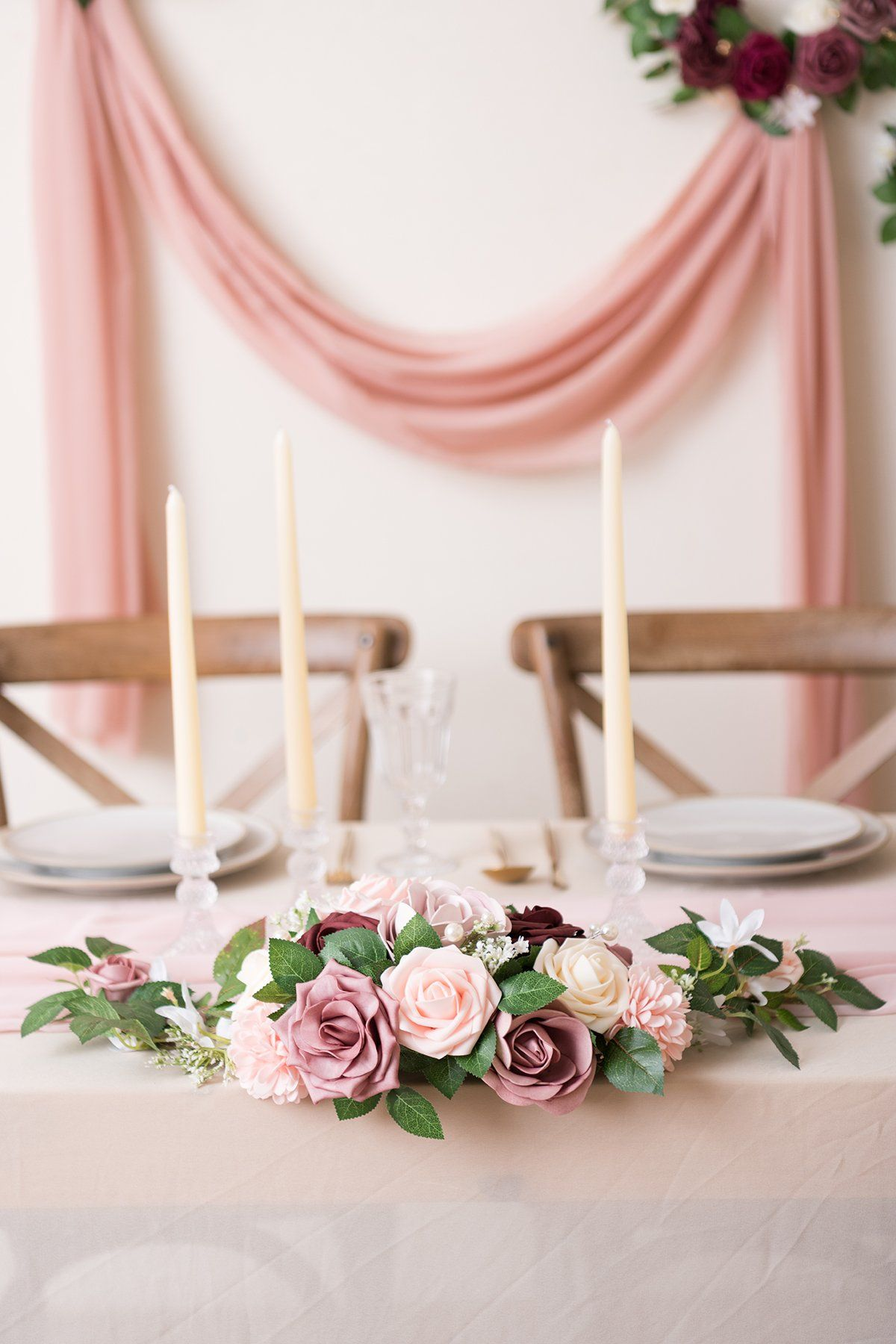 Artificial Rose Flower Swags and Garlands w/Sheer Swags