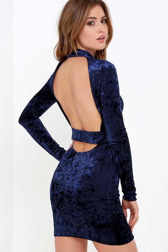 e8e477f46208 Navy Blue Velvet Bodycon Dress! Ultra-soft crushed velvet forms a chic mock  neck framed by long, fitted sleeves. A sexy open back ...