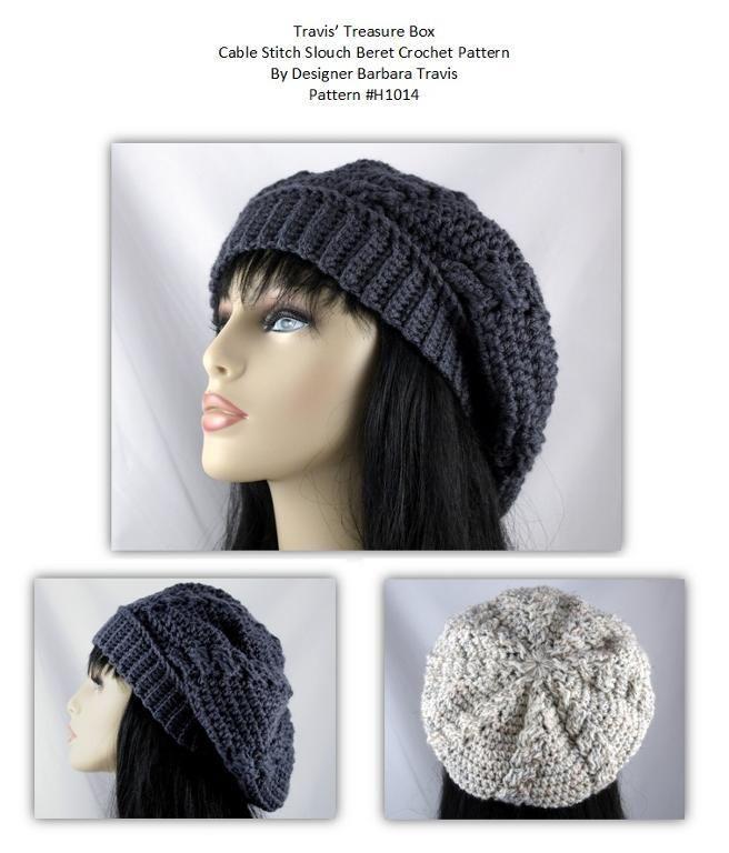 Crochet Pattern Slouch Beret Cable   Bufanda en telar y Telar