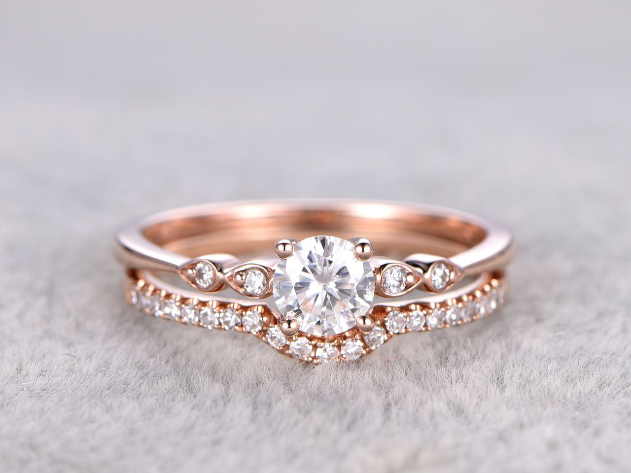 2pcs Moissanite Wedding Ring Set Diamond Matching Band Rose Gold Art Deco Curved Thin Pave Stacking 14k 18k