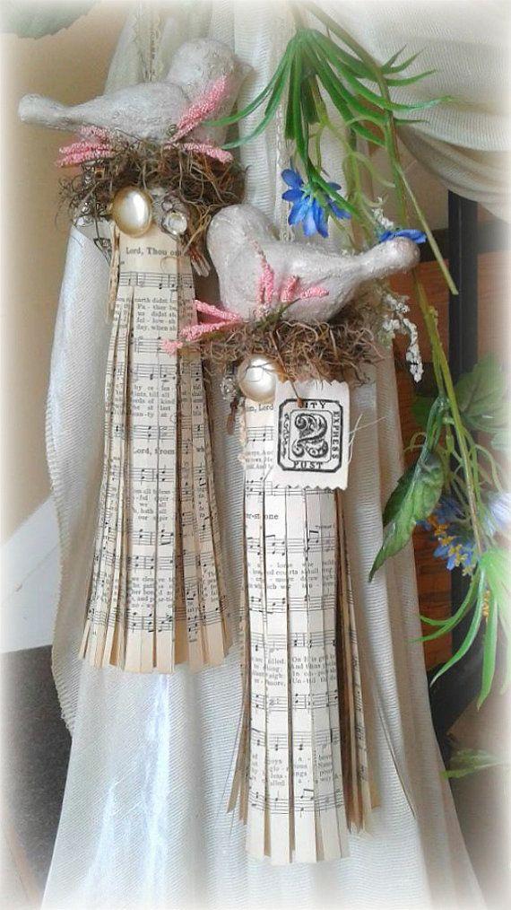 Music Paper Rustic Bird Curtain Tie Back By Jazziemenagerie Bird