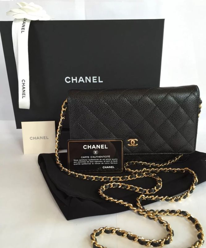 5982e7ef399d CHANEL WOC Caviar Quilted Wallet on Chain Black Mini Bag + 2016 Receipt GHW