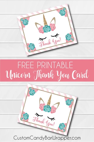 Free Printable Unicorn Thank You Cards is part of Unicorn printables, Printable unicorn birthday, Unicorn birthday invitations, Unicorn birthday cards, Birthday party invitations free, Unicorn invitations - It's not a Friday Freebie, but this unicorn invitation is very fresh, and popular so I decided to offer this free printable unicorn thank you card  Using free printables is a great way to coordinate your party theme  So easy to use and they will match our invitations, candy bar wrappers and Hershey Kisses stickers  This unicorn thank you card is an instant download  If interested you can purchase the unicorn birthday invitations here  This adorable unicorn party theme may be customized not only for a first birthday, any age will have fun with this birthday theme  Add personalized candy wrappers for the party favors  You can purchase unicorn birthday candy bar wrappers here  Are you looking for a more affordable party favor option  Try our personalized Hershey Kisses stickers  As low as $0 13 per sticker  Easy to assemble, just peel and stick  You can order matching unicorn birthday stickers here  All of these wonderful items match this free printable file  Instantly Download your free printable unicorn thank you cards here