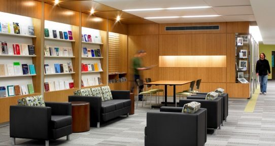 The current periodicals reading area is situated near the entrance
