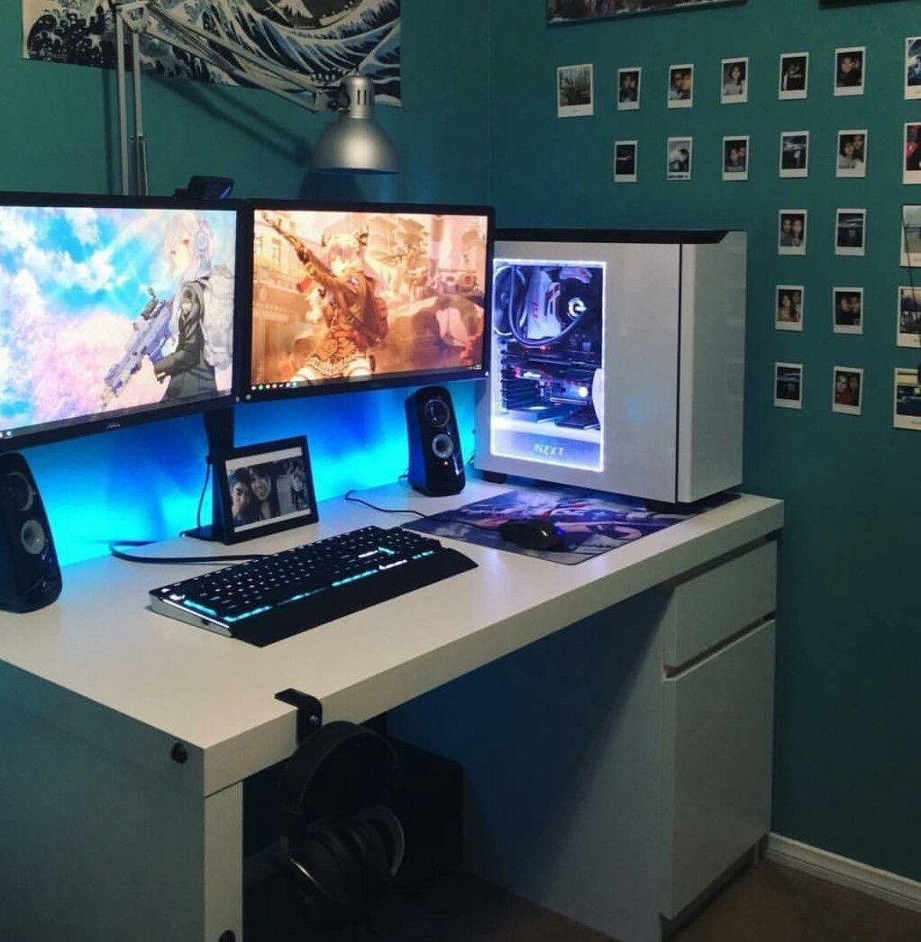 nice looking setup here too platforms gaming gaming pinterest gaming nice and gaming desk. Black Bedroom Furniture Sets. Home Design Ideas