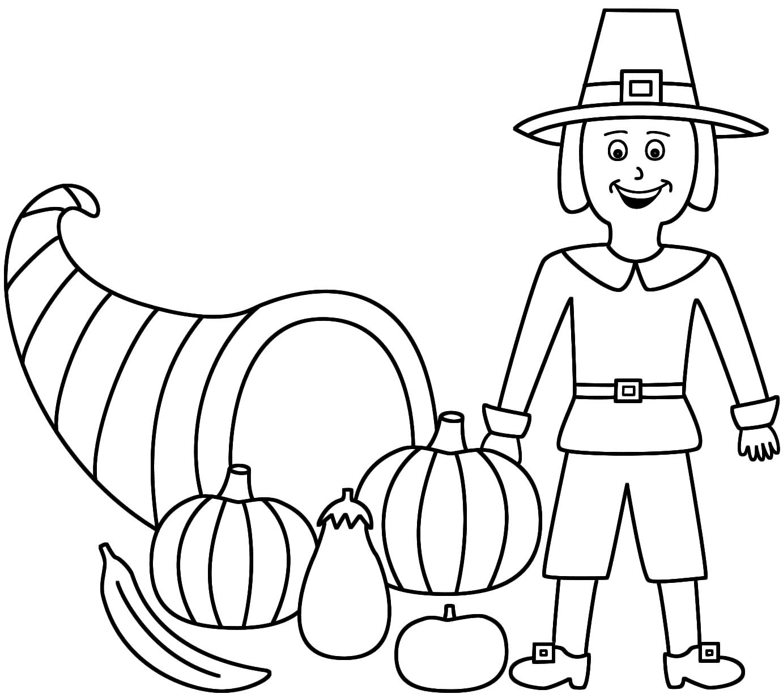 Horn Of Plenty With A Pilgrim