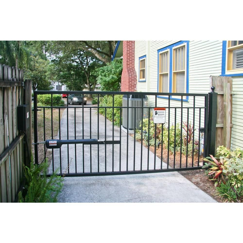 Mighty Mule Sanibel 12 Ft X 4 4 5 Ft Powder Coated Steel Metal Single Driveway Fence Gate G1612 Kit The Home Depot Driveway Fence Fence Gate Driveway