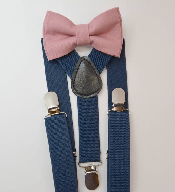 2b11384a3925 Blush Bow Tie & Navy Suspenders with Blush Pocket Square for Groom,  Groomsmen, Ring Bearer