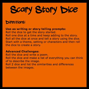 scary story dice directions ralph wilson s pd board make your own scary story dice for halloween they add creativity and fun to your halloween celebrations