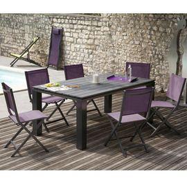 Salon de jardin : table Elena 180 cm gris anthracite + 6 chaises ...